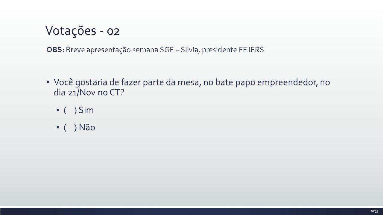 Votações - 02 OBS: Breve apresentação semana SGE – Silvia, presidente FEJERS Você gostaria de fazer parte da mesa, no bate papo empreendedor, no dia 21/Nov no CT.
