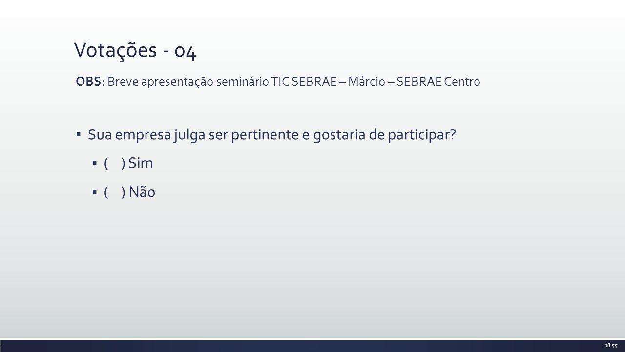 Votações - 04 OBS: Breve apresentação seminário TIC SEBRAE – Márcio – SEBRAE Centro Sua empresa julga ser pertinente e gostaria de participar? ( ) Sim