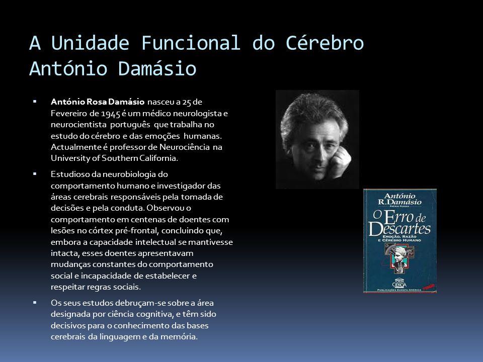 A Unidade Funcional do Cérebro António Damásio António Rosa Damásio nasceu a 25 de Fevereiro de 1945 é um médico neurologista e neurocientista portugu