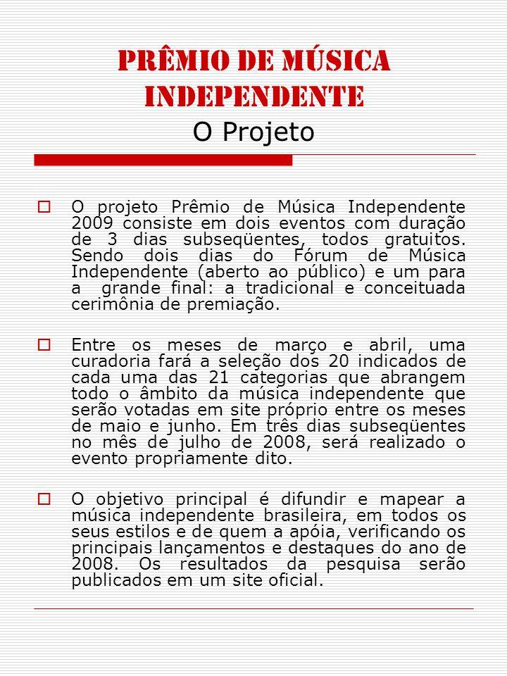 PRÊMIO DE MÚSICA INDEPENDENTE O Projeto O projeto Prêmio de Música Independente 2009 consiste em dois eventos com duração de 3 dias subseqüentes, todos gratuitos.