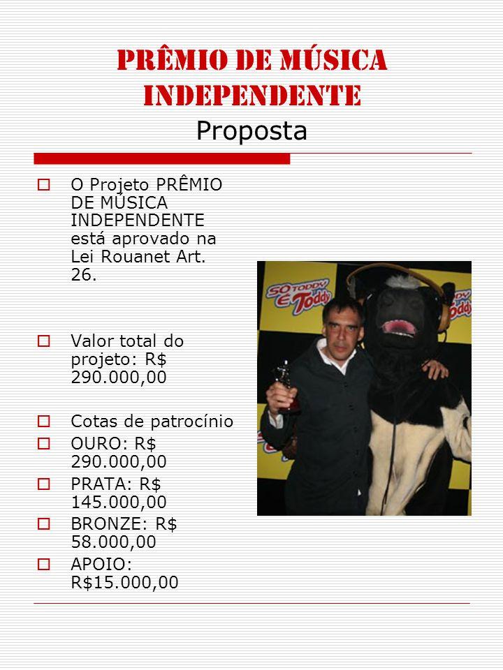 PRÊMIO DE MÚSICA INDEPENDENTE Proposta O Projeto PRÊMIO DE MÚSICA INDEPENDENTE está aprovado na Lei Rouanet Art. 26. Valor total do projeto: R$ 290.00