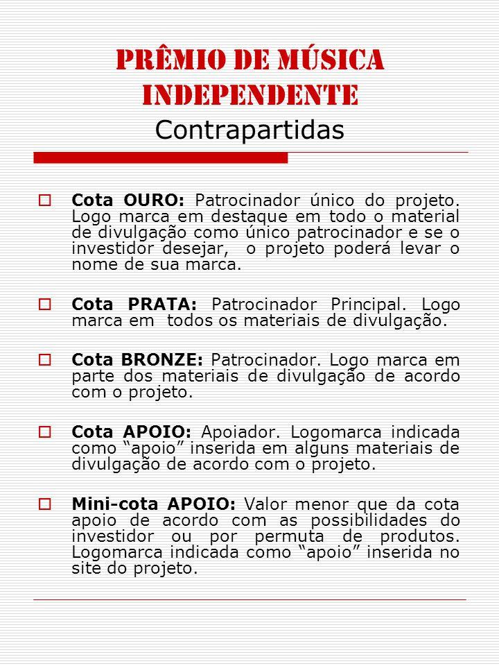 PRÊMIO DE MÚSICA INDEPENDENTE Contrapartidas Cota OURO: Patrocinador único do projeto.