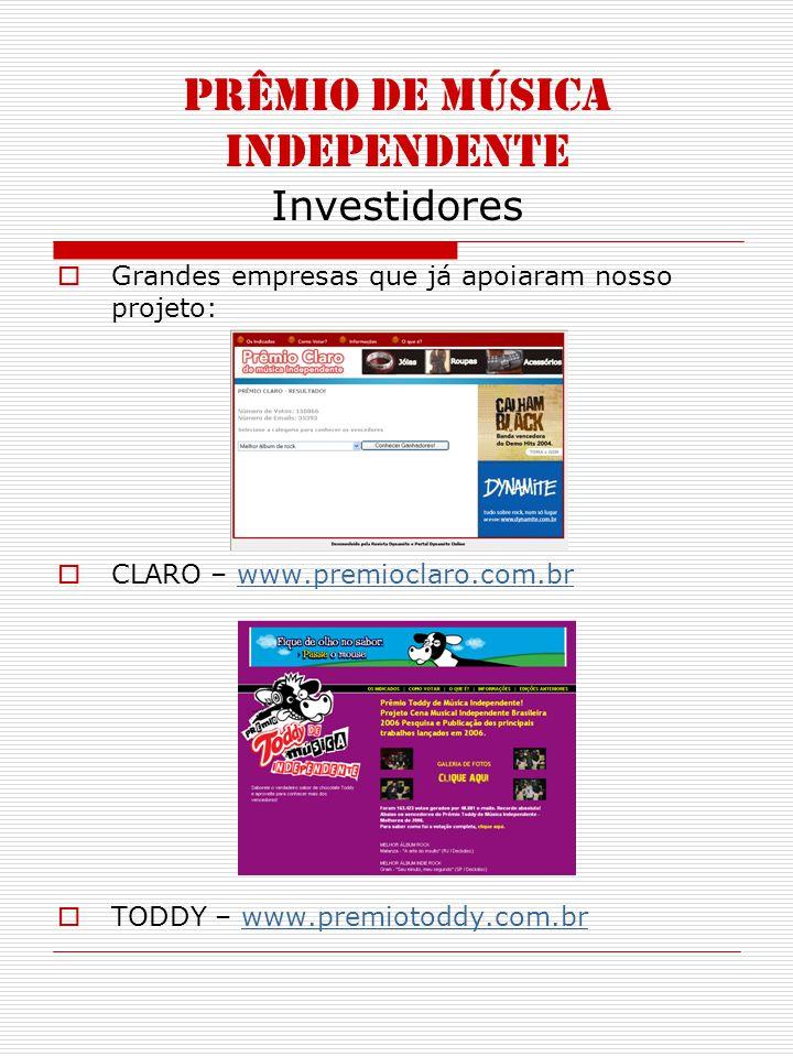 PRÊMIO DE MÚSICA INDEPENDENTE Investidores Grandes empresas que já apoiaram nosso projeto: CLARO – www.premioclaro.com.brwww.premioclaro.com.br TODDY – www.premiotoddy.com.brwww.premiotoddy.com.br