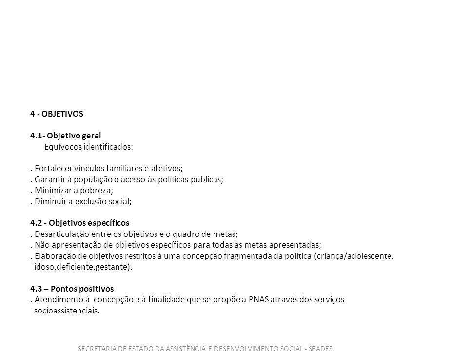 SECRETARIA DE ESTADO DA ASSISTÊNCIA E DESENVOLVIMENTO SOCIAL - SEADES 4 - OBJETIVOS 4.1- Objetivo geral Equívocos identificados:.
