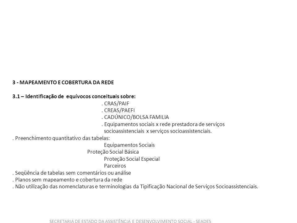 SECRETARIA DE ESTADO DA ASSISTÊNCIA E DESENVOLVIMENTO SOCIAL - SEADES 3 - MAPEAMENTO E COBERTURA DA REDE 3.1 – Identificação de equívocos conceituais sobre:.