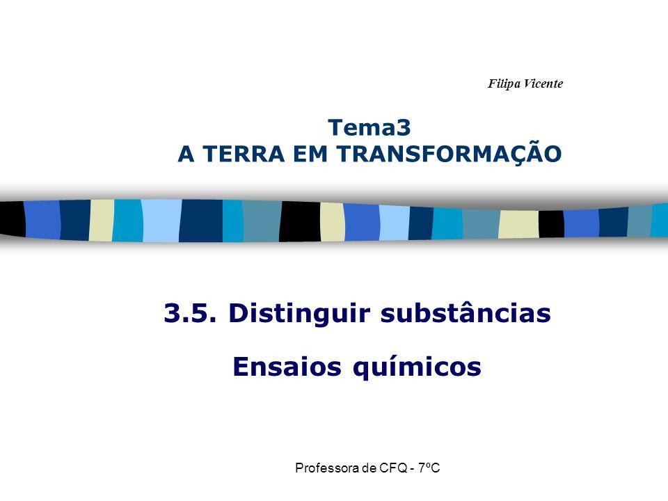 Filipa Vicente Professora de CFQ - 7ºC Tema3 A TERRA EM TRANSFORMAÇÃO 3.5. Distinguir substâncias Ensaios químicos