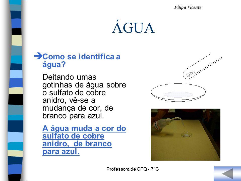 Filipa Vicente Professora de CFQ - 7ºC ÁGUA Como se identifica a água? Deitando umas gotinhas de água sobre o sulfato de cobre anidro, vê-se a mudança