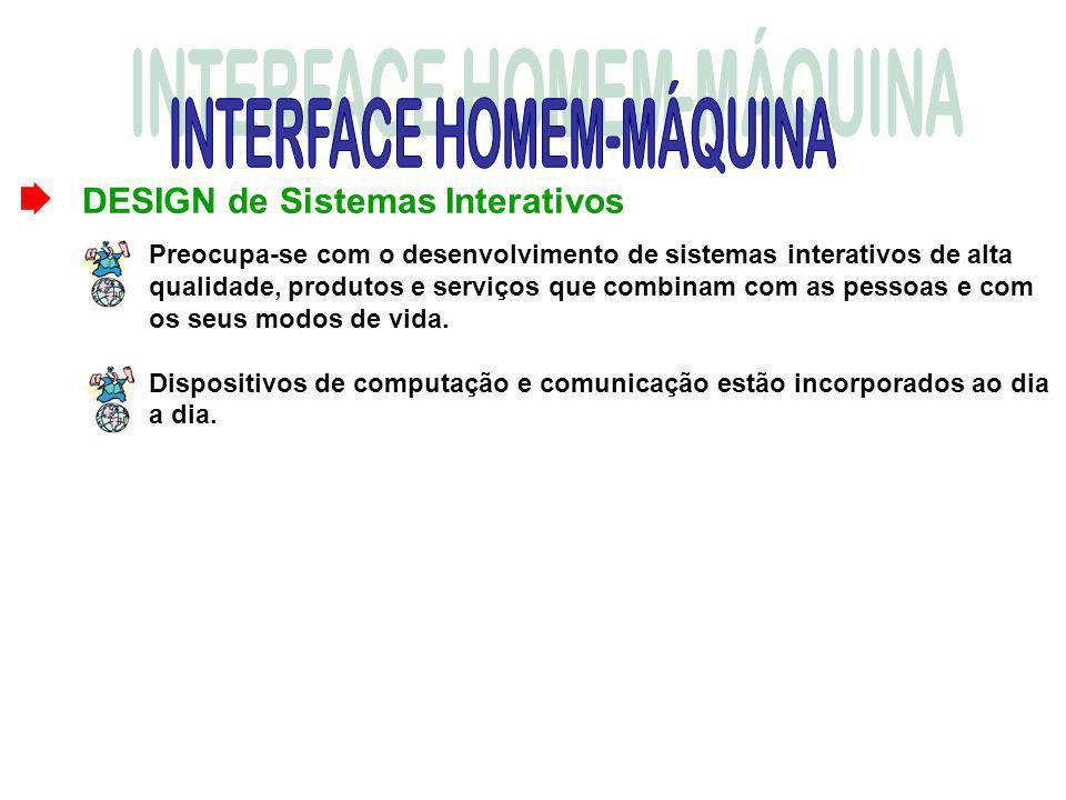 DESIGN de Sistemas Interativos Preocupa-se com o desenvolvimento de sistemas interativos de alta qualidade, produtos e serviços que combinam com as pe