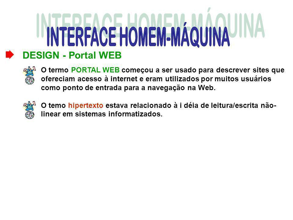 DESIGN - Portal WEB O termo PORTAL WEB começou a ser usado para descrever sites que ofereciam acesso à internet e eram utilizados por muitos usuários