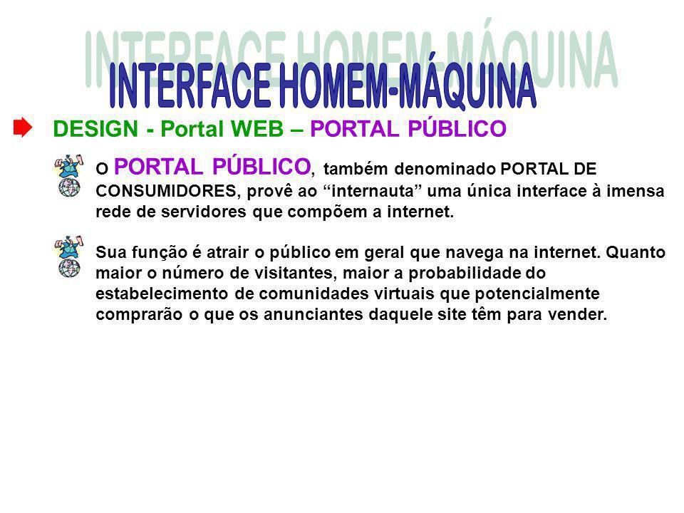 DESIGN - Portal WEB – PORTAL PÚBLICO O PORTAL PÚBLICO, também denominado PORTAL DE CONSUMIDORES, provê ao internauta uma única interface à imensa rede