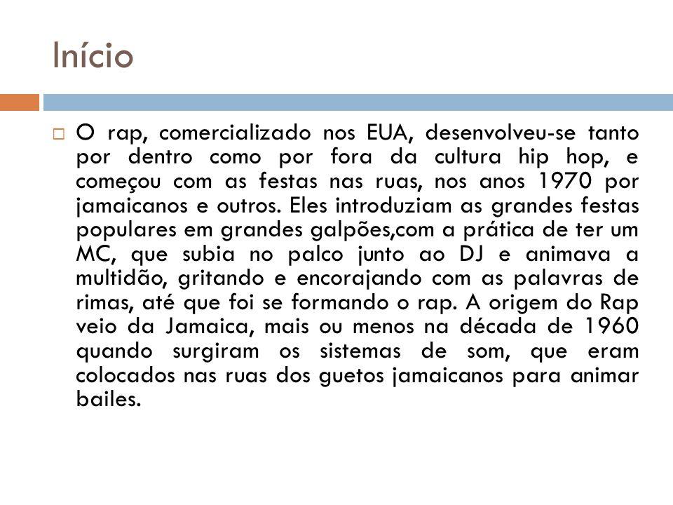 Início O rap, comercializado nos EUA, desenvolveu-se tanto por dentro como por fora da cultura hip hop, e começou com as festas nas ruas, nos anos 197