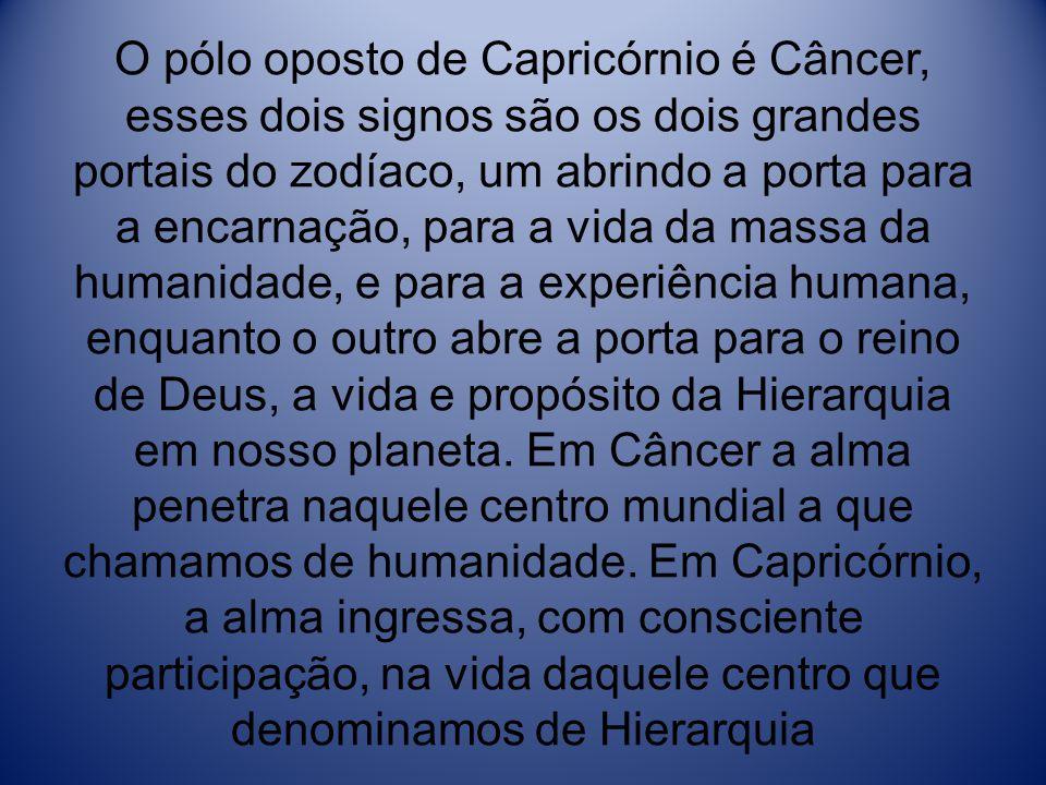 O pólo oposto de Capricórnio é Câncer, esses dois signos são os dois grandes portais do zodíaco, um abrindo a porta para a encarnação, para a vida da