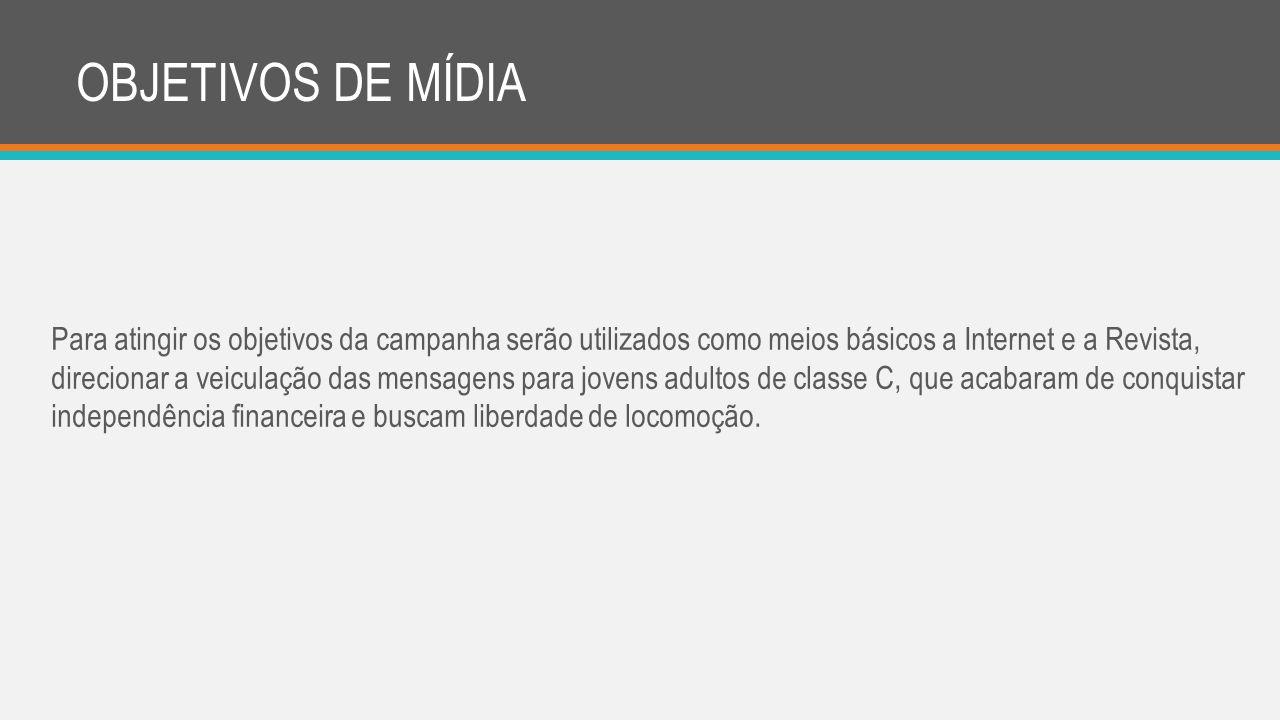 OBJETIVOS DE MÍDIA Para atingir os objetivos da campanha serão utilizados como meios básicos a Internet e a Revista, direcionar a veiculação das mensa