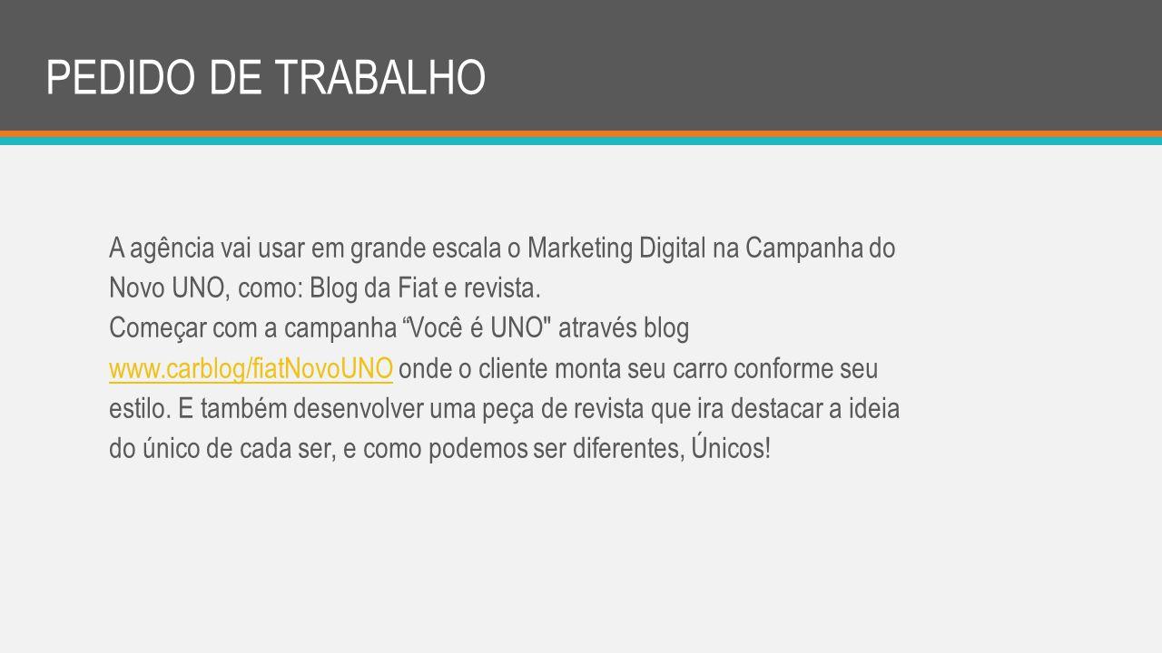 A agência vai usar em grande escala o Marketing Digital na Campanha do Novo UNO, como: Blog da Fiat e revista. Começar com a campanha Você é UNO