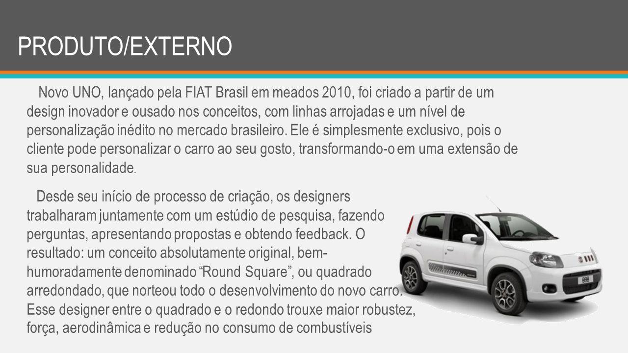 PRODUTO/EXTERNO Novo UNO, lançado pela FIAT Brasil em meados 2010, foi criado a partir de um design inovador e ousado nos conceitos, com linhas arroja