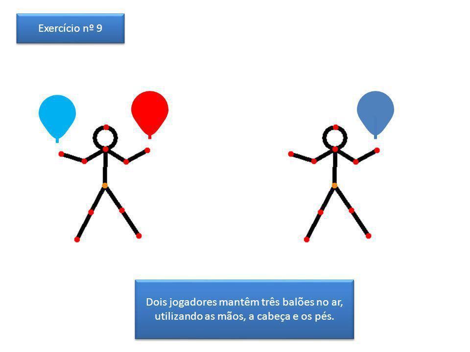 Dois jogadores mantêm três balões no ar, utilizando as mãos, a cabeça e os pés. Exercício nº 9
