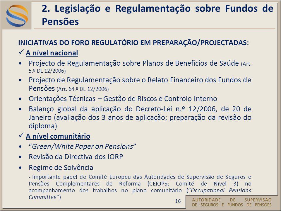INICIATIVAS DO FORO REGULATÓRIO EM PREPARAÇÃO/PROJECTADAS: A nível nacional Projecto de Regulamentação sobre Planos de Benefícios de Saúde (Art.