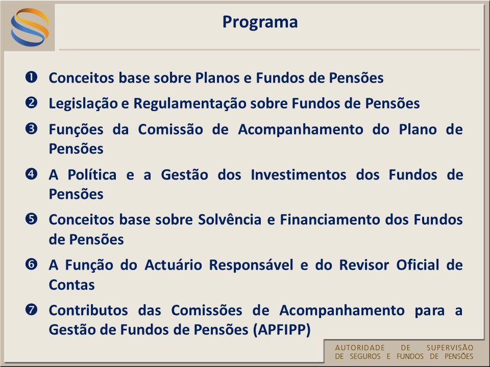 Programa Conceitos base sobre Planos e Fundos de Pensões Legislação e Regulamentação sobre Fundos de Pensões Funções da Comissão de Acompanhamento do Plano de Pensões A Política e a Gestão dos Investimentos dos Fundos de Pensões Conceitos base sobre Solvência e Financiamento dos Fundos de Pensões A Função do Actuário Responsável e do Revisor Oficial de Contas Contributos das Comissões de Acompanhamento para a Gestão de Fundos de Pensões (APFIPP)