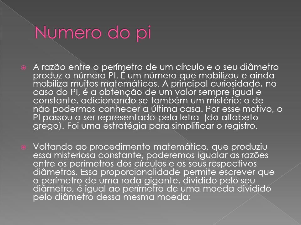 A razão entre o perímetro de um círculo e o seu diâmetro produz o número PI. É um número que mobilizou e ainda mobiliza muitos matemáticos. A principa