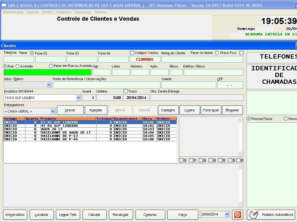 Preencha os campos com os dados do cliente O campo com a cor VERDE é o campo editado no momento, onde se encontra o Cursor.