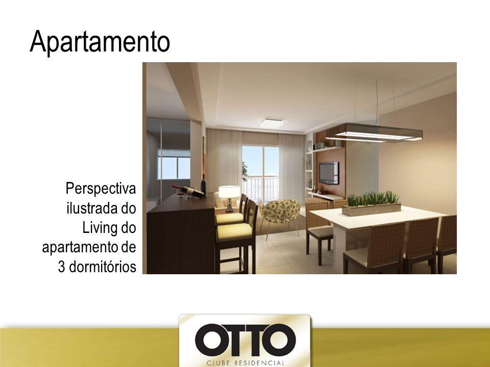 Apartamento Perspectiva ilustrada do Living do apartamento de 3 dormitórios