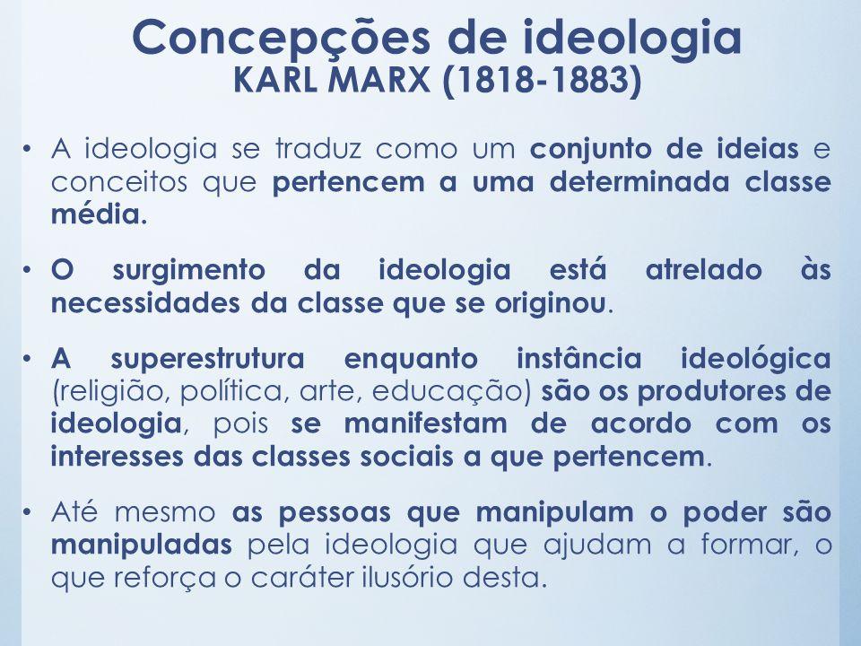 Concepções de ideologia KARL MARX (1818-1883) A ideologia se traduz como um conjunto de ideias e conceitos que pertencem a uma determinada classe médi