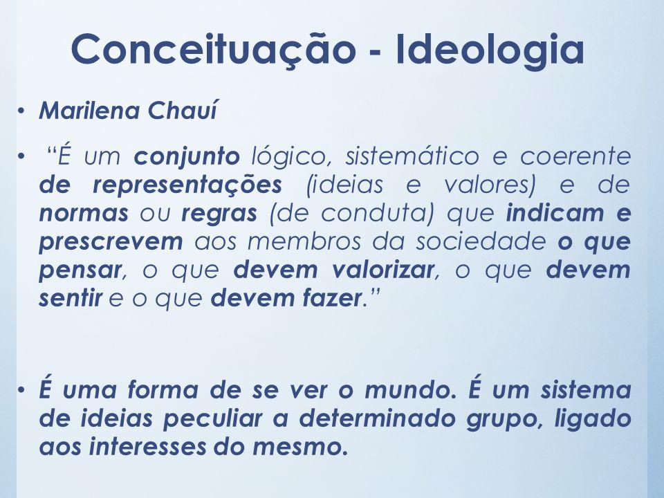 Conceituação - Ideologia Marilena Chauí É um conjunto lógico, sistemático e coerente de representações (ideias e valores) e de normas ou regras (de co