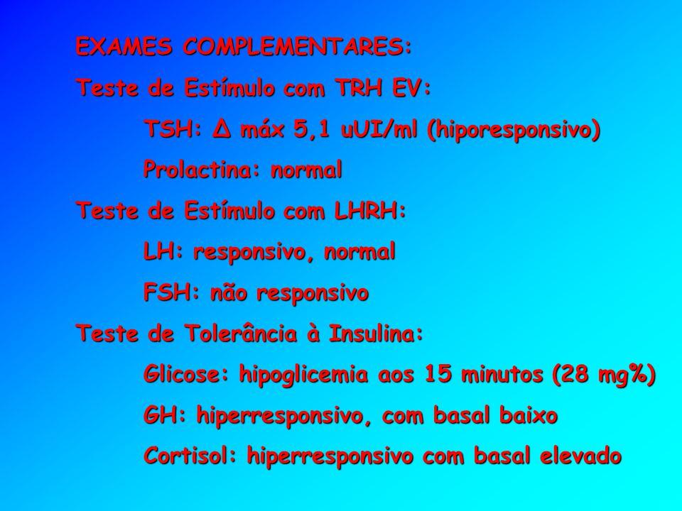 EXAMES COMPLEMENTARES: Teste de Estímulo com TRH EV: TSH: Δ máx 5,1 uUI/ml (hiporesponsivo) Prolactina: normal Teste de Estímulo com LHRH: LH: respons