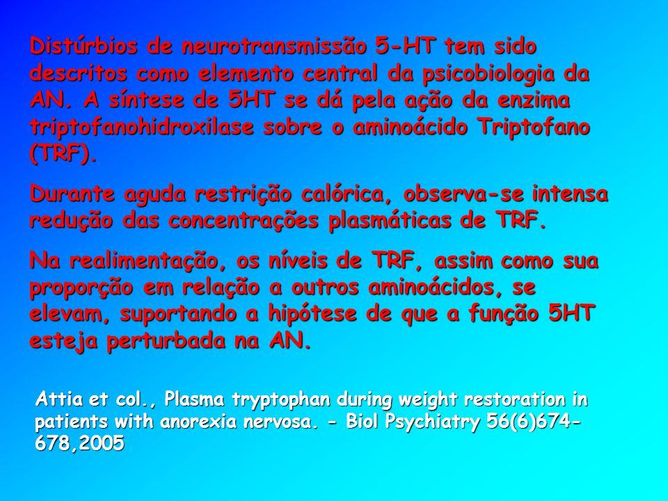 Distúrbios de neurotransmissão 5-HT tem sido descritos como elemento central da psicobiologia da AN. A síntese de 5HT se dá pela ação da enzima tripto