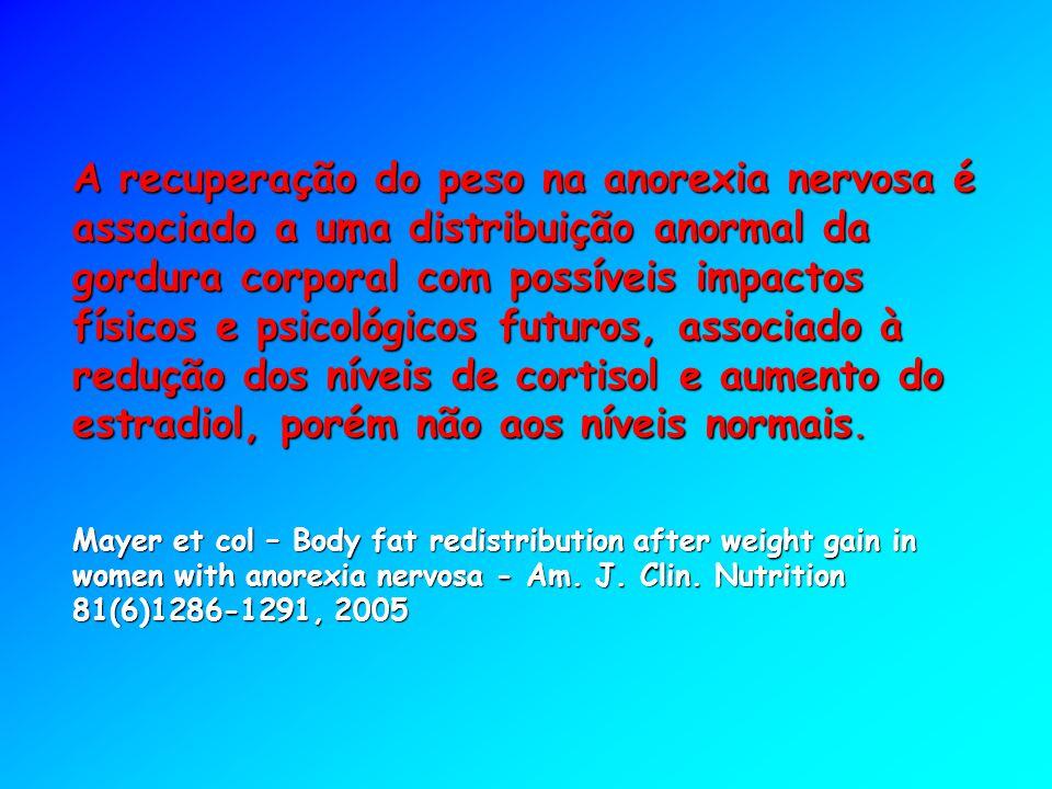 A recuperação do peso na anorexia nervosa é associado a uma distribuição anormal da gordura corporal com possíveis impactos físicos e psicológicos fut