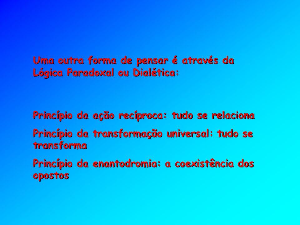 Uma outra forma de pensar é através da Lógica Paradoxal ou Dialética: Princípio da ação recíproca: tudo se relaciona Princípio da transformação univer