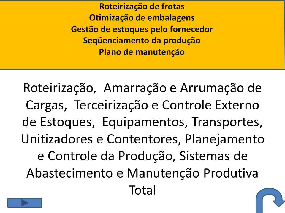 Roteirização de frotas Otimização de embalagens Gestão de estoques pelo fornecedor Seqüenciamento da produção Plano de manutenção Roteirização, Amarra