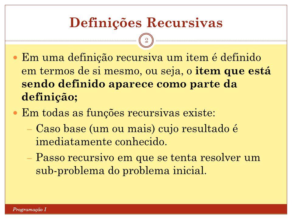 Definições Recursivas Programação I 2 Em uma definição recursiva um item é definido em termos de si mesmo, ou seja, o item que está sendo definido apa