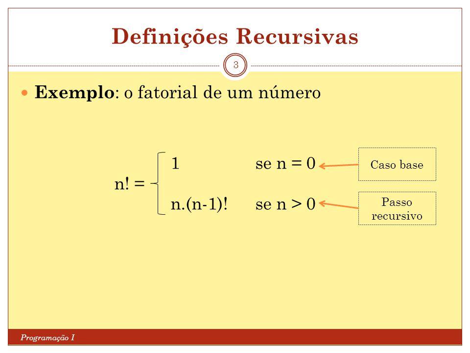 Definições Recursivas Programação I 3 Exemplo : o fatorial de um número 1se n = 0 n! = n.(n-1)!se n > 0 Caso base Passo recursivo