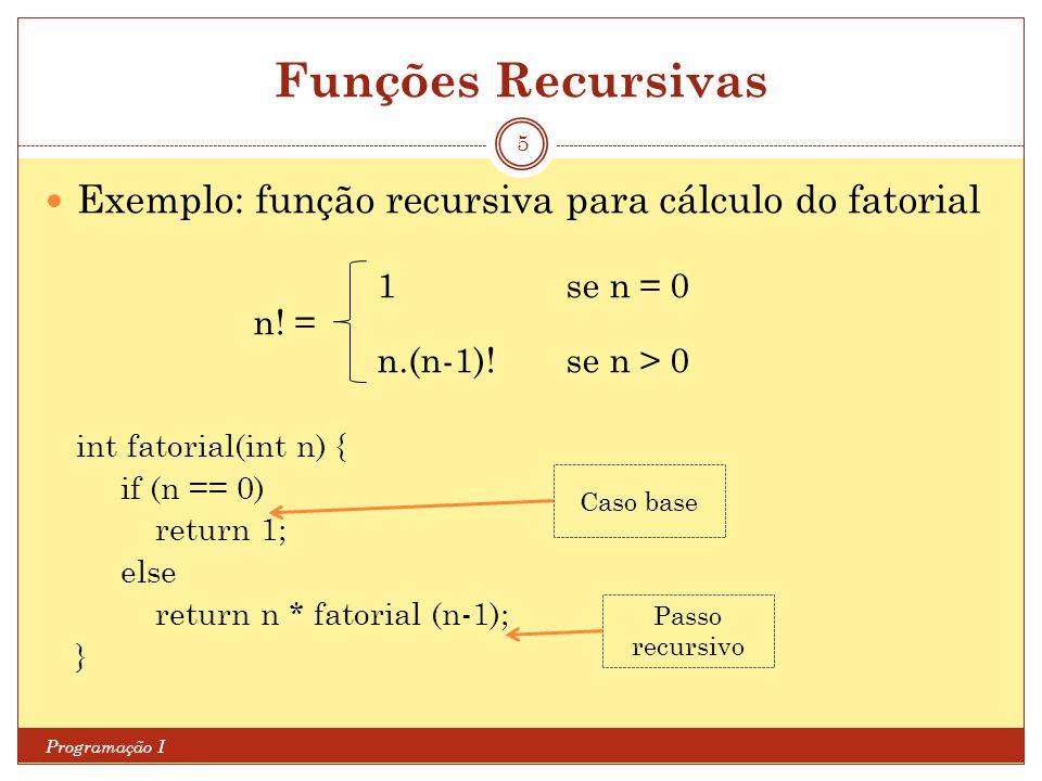 Funções Recursivas Programação I 5 Exemplo: função recursiva para cálculo do fatorial 1se n = 0 n! = n.(n-1)!se n > 0 int fatorial(int n) { if (n == 0