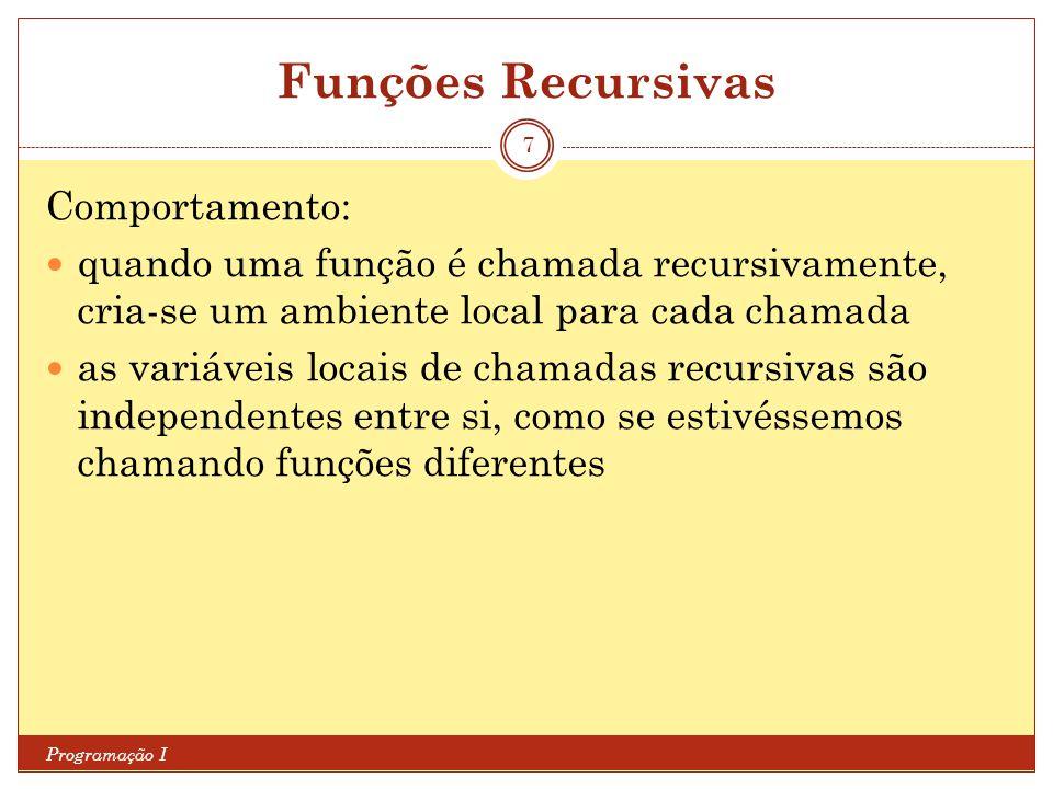 Funções Recursivas Programação I 7 Comportamento: quando uma função é chamada recursivamente, cria-se um ambiente local para cada chamada as variáveis