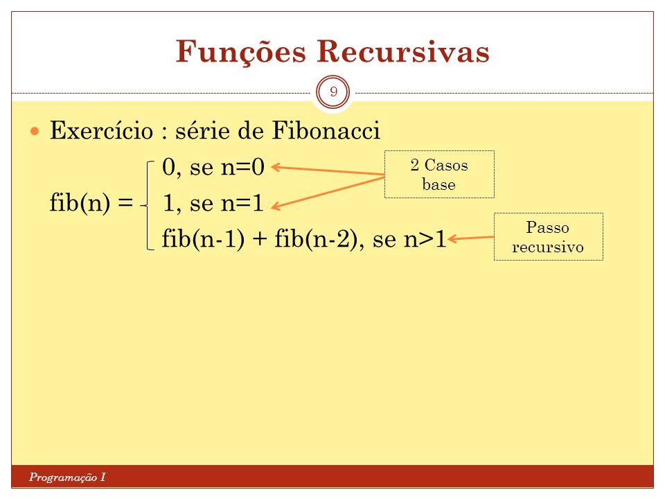 Funções Recursivas Programação I 9 Exercício : série de Fibonacci 0, se n=0 fib(n) = 1, se n=1 fib(n-1) + fib(n-2), se n>1 2 Casos base Passo recursiv