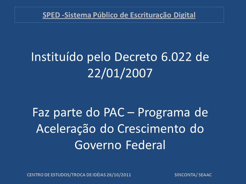 SPED -Sistema Público de Escrituração Digital O que é o Projeto SPED.