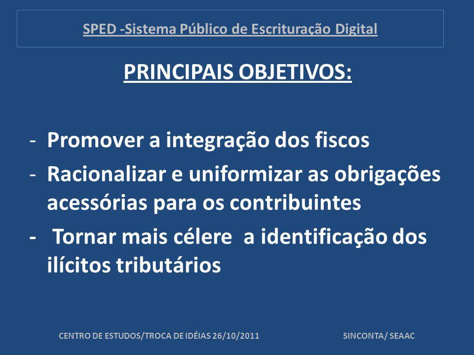 PRINCIPAIS OBJETIVOS: -Promover a integração dos fiscos -Racionalizar e uniformizar as obrigações acessórias para os contribuintes - Tornar mais célere a identificação dos ilícitos tributários CENTRO DE ESTUDOS/TROCA DE IDÉIAS 26/10/2011 SINCONTA/ SEAAC SPED -Sistema Público de Escrituração Digital