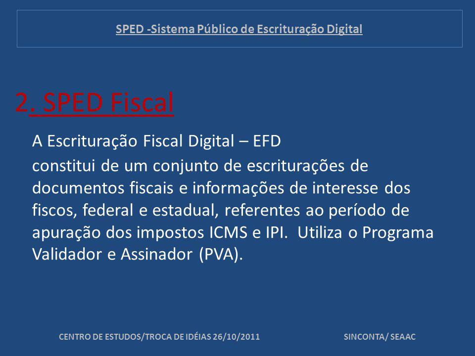 2. SPED Fiscal A Escrituração Fiscal Digital – EFD constitui de um conjunto de escriturações de documentos fiscais e informações de interesse dos fisc
