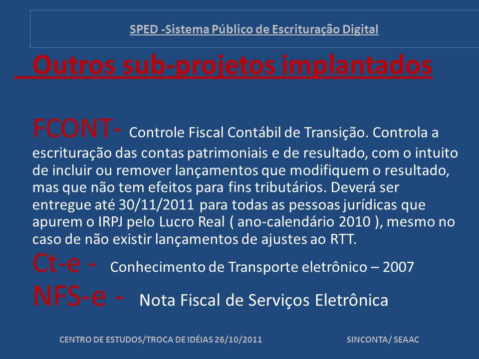 SUB-PROJETO ATUAL: EFD – PIS/COFINS SUB-PROJETOS EM ESTUDO: e-Lalur - EFD Social - Central de Balanços CENTRO DE ESTUDOS/TROCA DE IDÉIAS 26/10/2011 SINCONTA/ SEAAC SPED -Sistema Público de Escrituração Digital