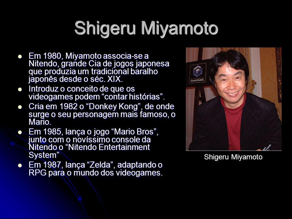 Shigeru Miyamoto Em 1980, Miyamoto associa-se a Nitendo, grande Cia de jogos japonesa que produzia um tradicional baralho japonês desde o séc. XIX. Em
