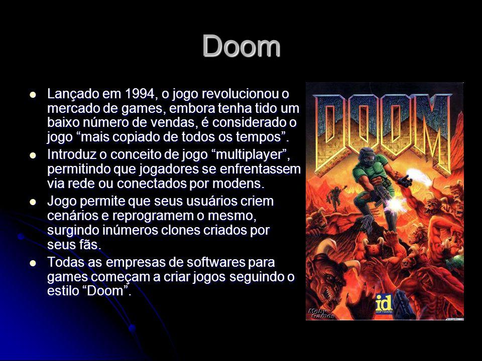 Doom Lançado em 1994, o jogo revolucionou o mercado de games, embora tenha tido um baixo número de vendas, é considerado o jogo mais copiado de todos
