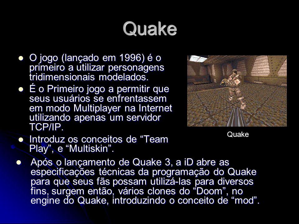 Quake O jogo (lançado em 1996) é o primeiro a utilizar personagens tridimensionais modelados. O jogo (lançado em 1996) é o primeiro a utilizar persona