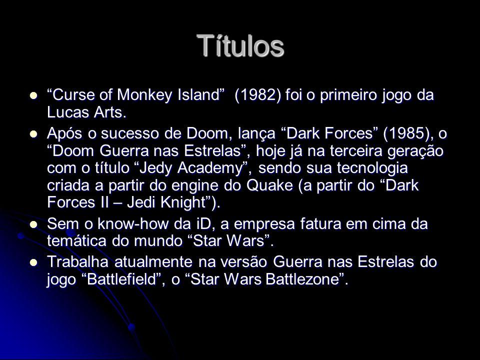 Títulos Curse of Monkey Island (1982) foi o primeiro jogo da Lucas Arts. Curse of Monkey Island (1982) foi o primeiro jogo da Lucas Arts. Após o suces