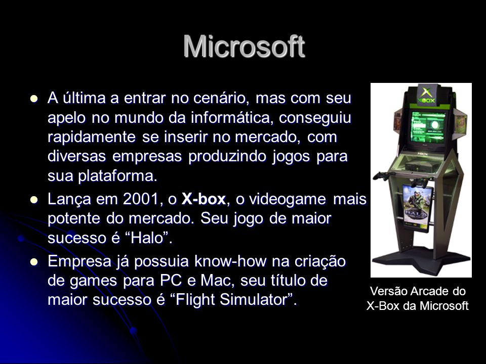Microsoft A última a entrar no cenário, mas com seu apelo no mundo da informática, conseguiu rapidamente se inserir no mercado, com diversas empresas