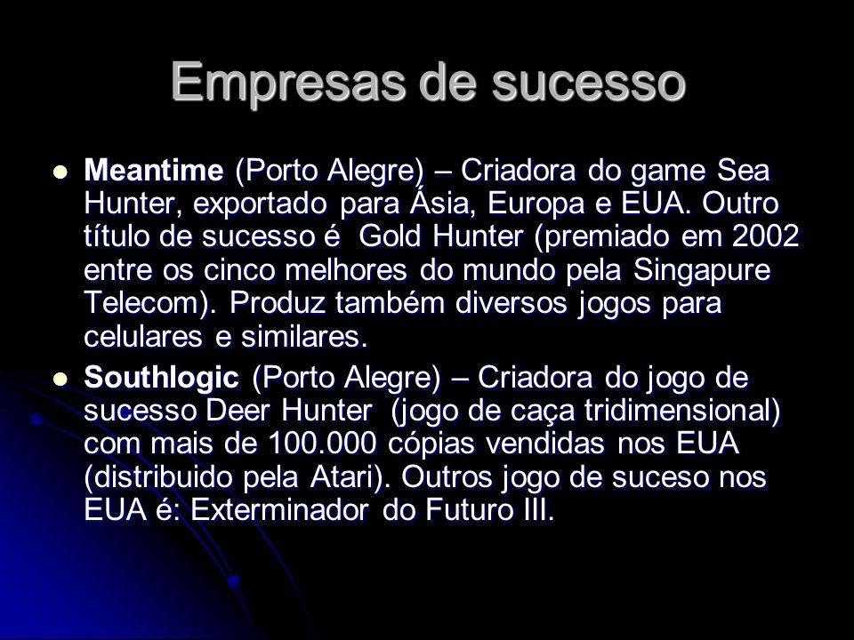 Empresas de sucesso Meantime (Porto Alegre) – Criadora do game Sea Hunter, exportado para Ásia, Europa e EUA. Outro título de sucesso é Gold Hunter (p
