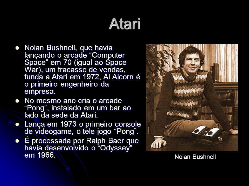 Atari Nolan Bushnell, que havia lançando o arcade Computer Space em 70 (igual ao Space War), um fracasso de vendas, funda a Atari em 1972, Al Alcorn é