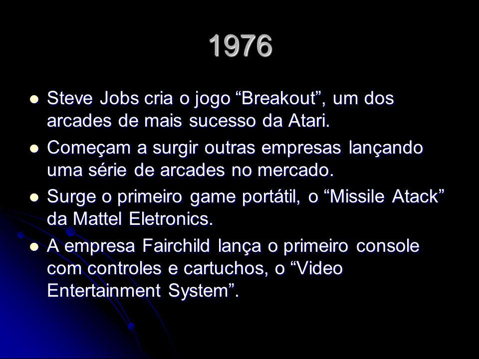 1976 Steve Jobs cria o jogo Breakout, um dos arcades de mais sucesso da Atari. Steve Jobs cria o jogo Breakout, um dos arcades de mais sucesso da Atar