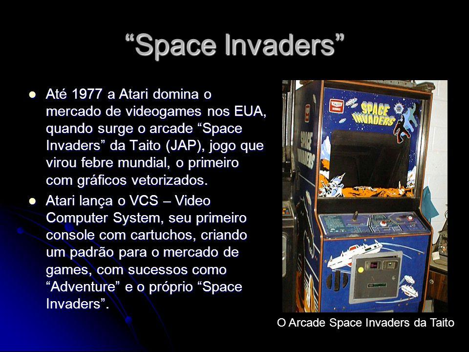 Space Invaders Até 1977 a Atari domina o mercado de videogames nos EUA, quando surge o arcade Space Invaders da Taito (JAP), jogo que virou febre mund